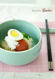 Naengmyeon, Korean style spicy cold soba noodles
