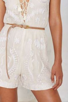 Ada Dotty Leather Belt with embroidered romper