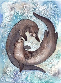 'Two Friends of the River' - Ashley Smith (Kitsune-Seven on deviantArt) illustration of two otters Watercolor Animals, Watercolor Art, Illustrations, Illustration Art, Otter Tattoo, Otter Love, Wale, Animal Sketches, Animal Totems