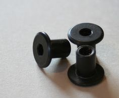 Start with these, I think they are called machine bolts. I bought mine at ace hardware with the screws to mount them for .60 cents each, and they already have the oil rubbed bronze finish!