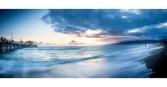 Santa Monica California  Long exposure panorama of Santa Monica; I love how with 2 seconds of long exposure you get the water to make very nice curves and flows. I love the sky too and how it get mixed with the water.  #santamonica #california #blue #beach #bluehour #pier #sky #clouds #instagood