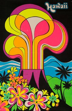 A vintage Hawaii poster. The poster not only has a bright, eye-catching color scheme, but the whole scene depicted can easily be identified as a Hawaiian landscape. The hand made font also harmonizes well with the shapes and lines of the poster's art.
