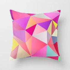 Pink Polygons Throw Pillow