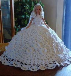 Irresistible Crochet a Doll Ideas. Radiant Crochet a Doll Ideas. Barbie Bridal, Barbie Wedding Dress, Barbie Dress, Doll Dresses, Crochet Doll Dress, Crochet Barbie Clothes, Crochet Doll Pattern, Doll Dress Patterns, Barbie Patterns