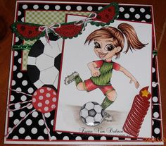 "Redonkadoodles.com ""Soccer / Football Girl"" Digital Stamp - Handmade Card Design By: Tania Von Dohren"