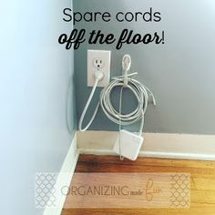 How to Organize Cords Easily Cord Hider, It Field, Command Hooks, Cord Organization, Organize Cords, Flooring, Learning, Clutter, Bedroom