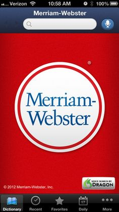 In addition to all the definitions from Merriam-Webster's Collegiate Dictionary, the app offers voice search – to let you look up a word without having to spell it – along with an integrated thesaurus, example sentences, Word of the Day, Favorites, and more.