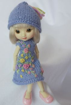 Winter Roses, a hand knit and embroidered baby alpaca dress/hat set for Wilde Imagination's Amelia Thimble and Izzy dolls, Cindy Rice Designs.