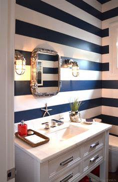 Striped walls, nautical bath, Hampton Showhouse on www.CourtneyPrice.com