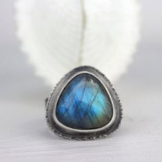 Labradorite Statement Ring, Blue Green Flash, Triangle Gemstone Ring with Hammered Silver Setting