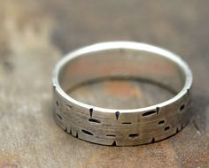 Birch Tree Bark Sterling Silver Band Ring by Monkeys Always Look