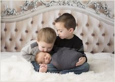 Newborn Vintage Studio Session: Three Brothers