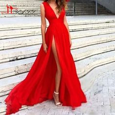 A-Line Red Prom Dress Sexy Hot Slit Side Long Chiffon Evening Dresses With V neckline For Teens sold by BanquetGown. Shop more products from BanquetGown on Storenvy, the home of independent small businesses all over the world.