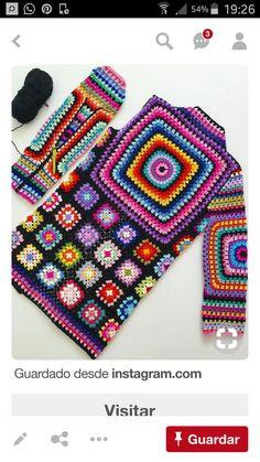 Crochet granny square clothes ganchillo Ideas for 2020 Pull Crochet, Gilet Crochet, Mode Crochet, Hippie Crochet, Crochet Daisy, Crochet Cardigan Pattern, Granny Square Crochet Pattern, Crochet Poncho, Crochet Squares