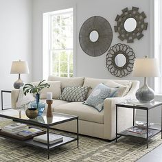 I like this color combo/balance--light couch, dark accessories, light/neutral wall Frisco Mirror in Fresh Spring Savings | Crate and Barrel