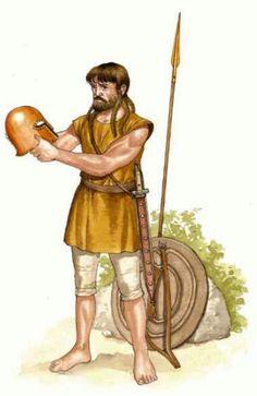 -0999 : -0900 c. Guerrero del S. O. de la Península Ibérica encuentra un casco tipo Corinto cerca de la ciudad de Oba. Siglo X a. C.