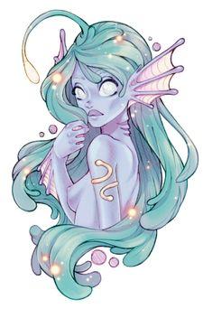 Glowy mermaid by Konoko-Yoyo-Tsuke on DeviantArt Mermaid Drawings, Mermaid Art, Fantasy Creatures, Mythical Creatures, Anime Comics, Creature Drawings, Desenho Tattoo, Mermaids And Mermen, Character Design Inspiration