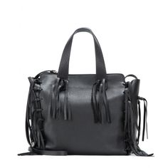 Valentino - C-Rockee Small leather tote -  Underlined with boho elegance, the soft black style features two easy-to-carry handles and tassel trims - @ www.mytheresa.com