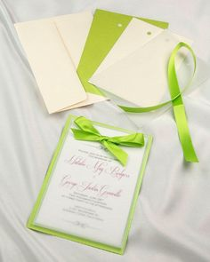 Lime green and cream layered invitation with lime green ribbon #limegreen #invitations #spring #summer #invites #party