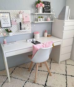 Pink Bedroom Decor, Room Design Bedroom, Room Ideas Bedroom, Home Room Design, Home Office Design, Home Office Decor, Teen Bedroom, Bedrooms, Study Room Decor