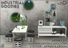 SIMS 4 Back again! This time I bring you an industrial style set of recolours with meshes by Leo-sims, Daeron, Arwen Kaboom, Joolster and Steffor for a little dining set. All the meshes are