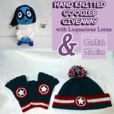 Hand Knitted Goodies Giveaway with Webbies Woolies! Fingerless Gloves, Hand Knitting, Goodies, Arts And Crafts, Crochet Hats, Hands, Awesome Things, Giveaways, Fangirl