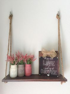 Wood Hanging Shelf with Rope. Valentines Day von BUtifulDesigns