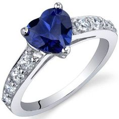 Dazzling Love 1.75 Carats Blue Sapphire Ring in Sterling Silver Rhodium Finish Size 5 to 9 Review