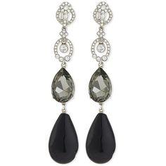 Oscar de la Renta Loop Crystal Drop Earrings ($590) ❤ liked on Polyvore featuring jewelry, earrings, black diamond, earrings jewelry, crystal jewelry, crystal earrings, clip earrings and pave jewelry