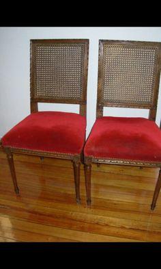 Silla francesa de estilo luis xvi tallada tapizada for Juego de dormitorio luis xvi