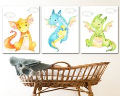 Nursery Sets, Baby Boy Nursery Decor, Giraffe Nursery, Baby Room Art, Baby Wall Art, Baby Boy Nurseries, Art Wall Kids, Nursery Wall Art, Dragon Nursery
