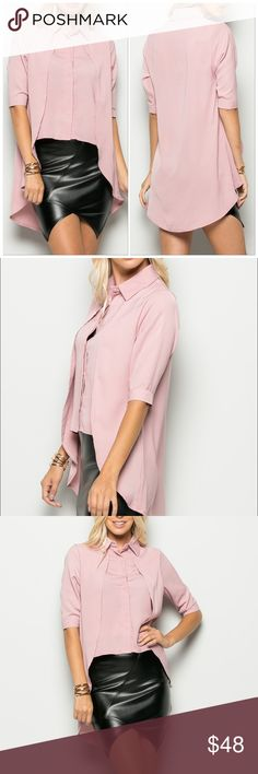 Pretty Woman Pink High Low Button Up Blouse New Arrivals  Stylish/Fashionable Dusty Mauve Pink High Low Button Up/Down Blouse With 3/4 Elbow Length Sleeves Fashionable Lines Down The Top And Covered Buttons  Sizes Available: Small, Medium & Large           No Trades Price Firm ✈✈Ships Within 3 Business Days✈✈ Tops Button Down Shirts