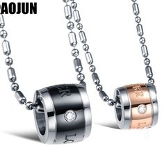 655f82bca4a0e Click to Buy    AOJUN Mens Stainless Steel Chain Black Eternal Love  Necklaces.