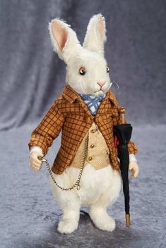"""13"""" American mohair """"The White Rabbit"""", Alice in Wonderland Series by R John Wright 400/600 