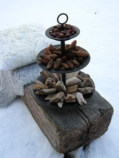 Apergne filled with Winter gifts … - could do this with a pretty glass bowl or vase