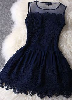 Navy lace dress with illusion neckline.