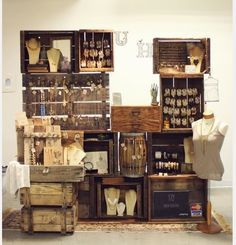 great use of wood crates | Jewelry & Craft Show Display | Pinterest