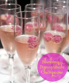 1oz. Pomegranate Juice  4oz. Chilled Champagne    In a Champagne flute, pour in the pomegranate juice. Top with Champagne  Garnish with pomegranate seeds or raspberries if desired. You may also freeze the raspberries a head of time if you want your champagne extra cold.
