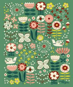 by Paula McGloin Studio: Sweet Meadow Art Print Surface Pattern Design, Pattern Art, Textile Patterns, Print Patterns, Textiles, Stoff Design, Scandinavian Folk Art, Scandinavian Pattern, Floral Prints