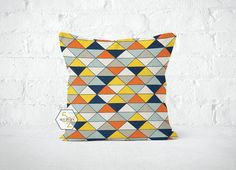 Yellow Orange Blue Geometric Pillow Cover  Dimensions by motion52