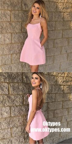 023322ec336 Sexy Spaghetti Straps Short Pink Cheap Homecoming Dress with Pockets