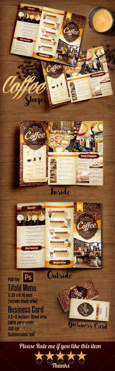 Coffee Shop Menu Trifold — Photoshop PSD #americano #dessert • Available here → https://graphicriver.net/item/coffee-shop-menu-trifold/14420066?ref=pxcr
