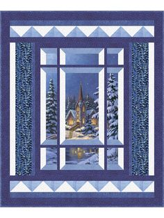 Modern Window Silent Night Quilt Pattern (advanced beginner, wall hanging, lap and throw) Quilting Projects, Quilting Designs, Quilting Tips, Machine Quilting, Fabric Panel Quilts, Attic Window Quilts, Easy Quilt Patterns, Bargello Quilt Patterns, Modern Windows