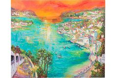 I STRUGGLED OVER THIS AMAZING OIL PAINTING OF ST. JEAN CAP FERRAT... AND IT GOT AWAY FROM ME... SOLD OUT THE MINUTE IT LEFT MY SHOPPING CART... WELL LET'S SEE... MAYBE THE DIVERS COVE  PAINTING HAS MY NAME ON IT... HMMMMMM  M. H. KUHNERT IS SUCH A GREAT PAINTER, AND THESE OLDER WORKS ARE RARE... FORTUNATELY... THERE ARE STILL A COUPLE MORE WHICH WILL WORK FOR THE JOB I'M DOING... . BUT THIS ONE WOULD HAVE BEEN PERFECT... Oil Painting, View of Villefranche on OneKingsLane.com