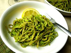 Green Pea Pesto spaghetti - vegan, can be gluten-free. Need a tasty, gourmet-feeling meal fast? Try this easy pesto pasta dish made with whole, plant-based ingredients. Dinner on the table in less than 30 min! Www.feedingyourbeauty.com
