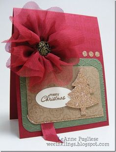 Stunning Glittery Gold Tree Card...with dimensional fabric flower.
