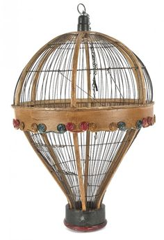 Painted wood and wire hot air balloon birdcage,