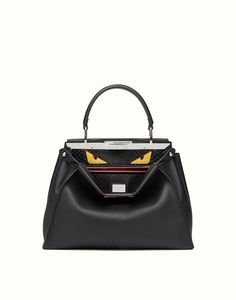 handbag in leather and python with Bag Bugs pattern - PEEKABOO REGULAR    Fendi   Fendi Online Store 70b3b83f15