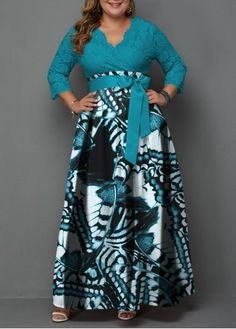 Belted Lace Panel Printed Plus Size Maxi Dress Plus Size Party Dresses, Plus Size Gowns, Curvy Fashion, Plus Size Fashion, Work Fashion, Unique Fashion, Fashion Ideas, African Maxi Dresses, Dress Plus Size