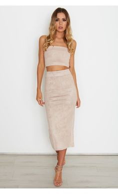 Rhythm Suede Skirt Dusty Pink - Bottoms - Clothing